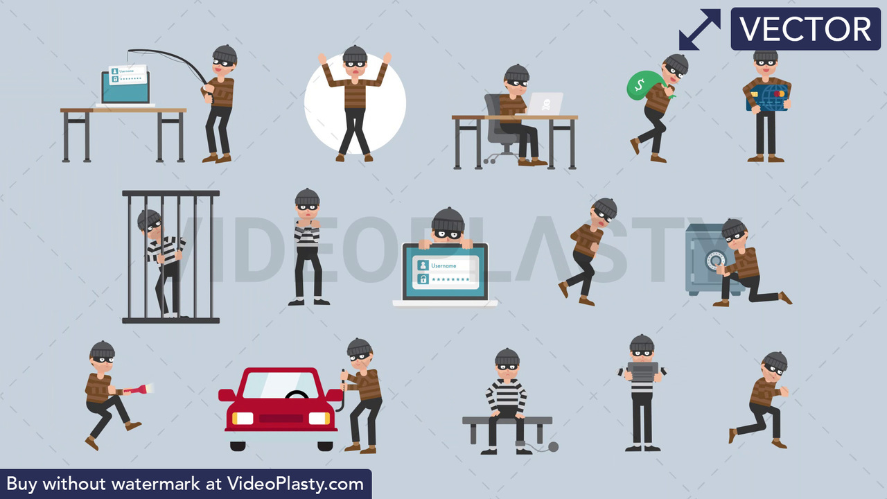 Criminal Character Pack - 15 Character Actions Vector Clipart