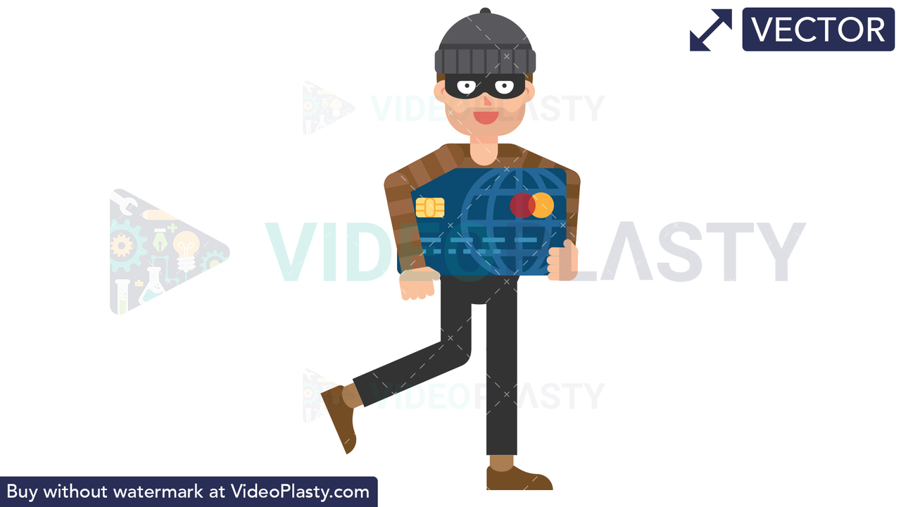 Criminal Holding a Credit Card Vector Clipart