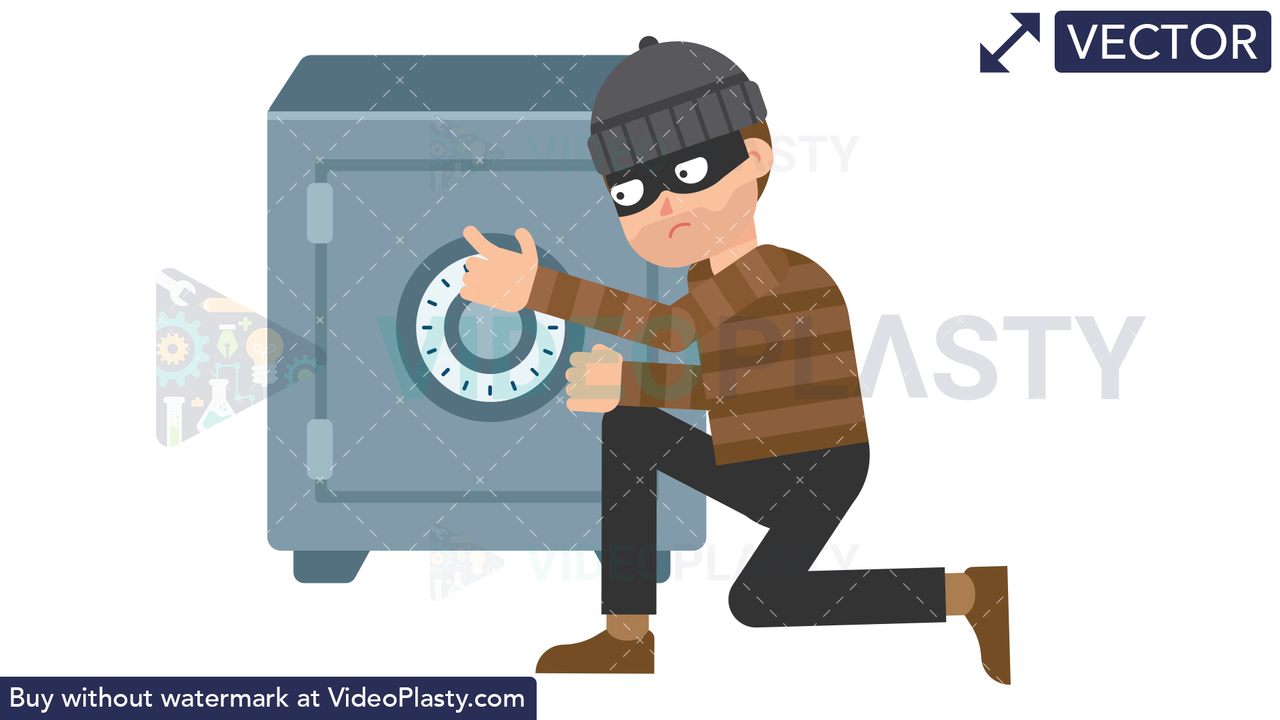 Criminal Opening Safe Vector Clipart