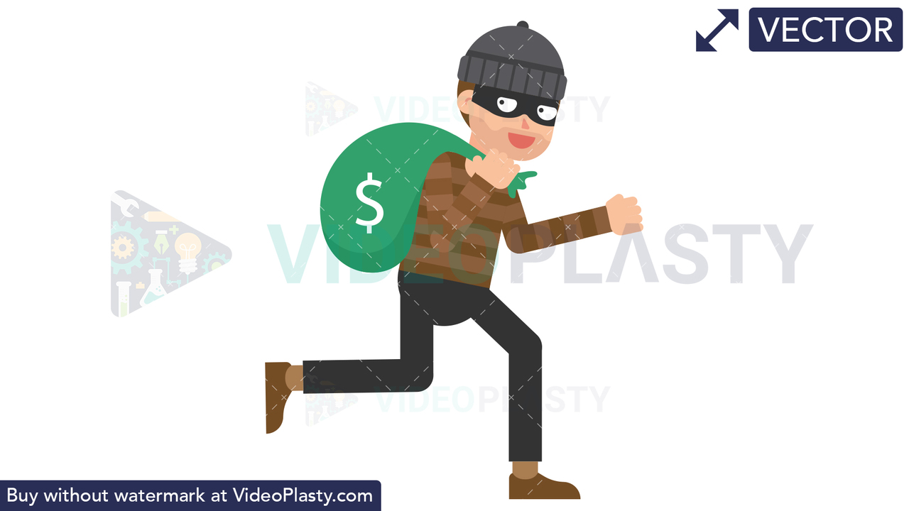 Criminal Running with a Bag of Money Vector Clipart
