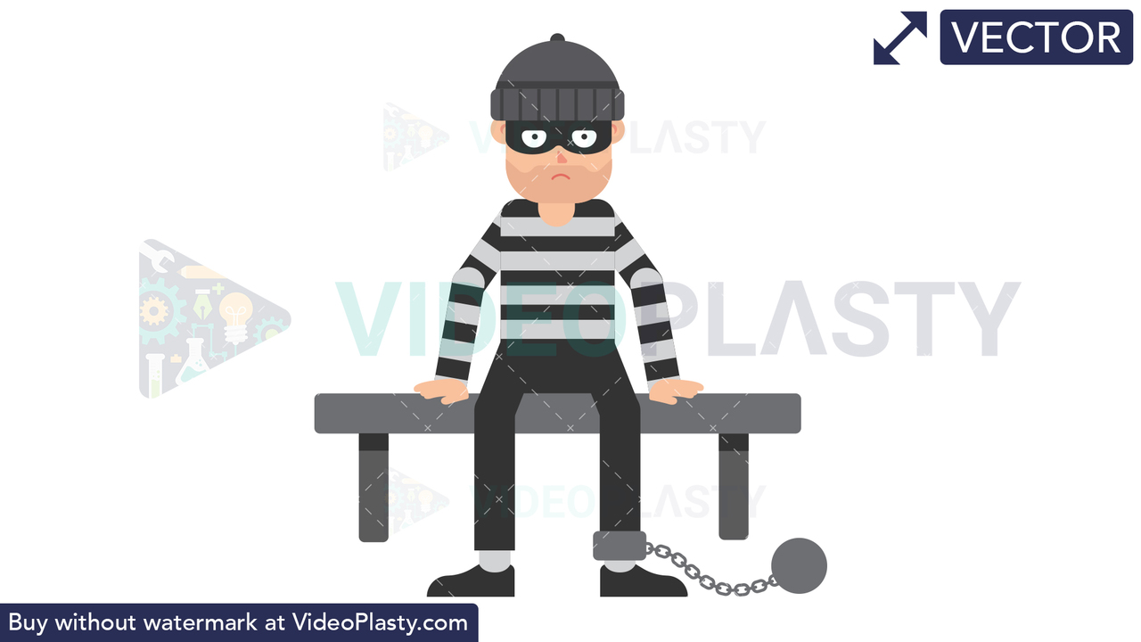 Criminal Sitting in Prison Vector Clipart
