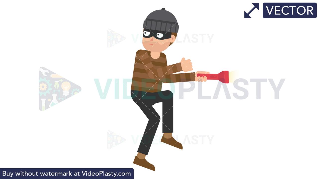 Criminal Sneaking Vector Clipart