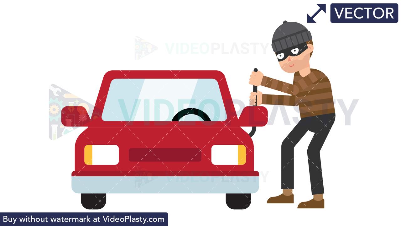 Criminal Stealing Car Vector Clipart