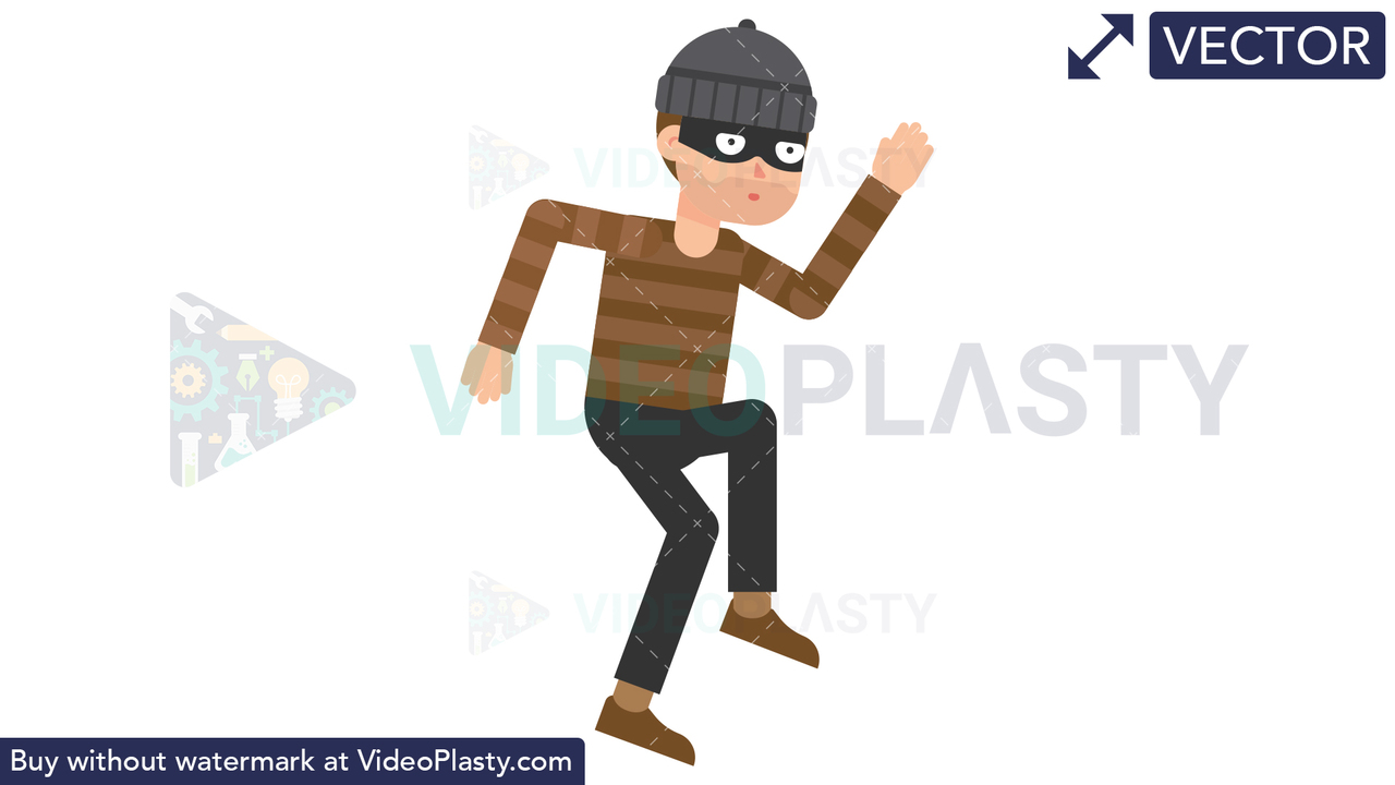 Criminal Tiptoe Vector Clipart