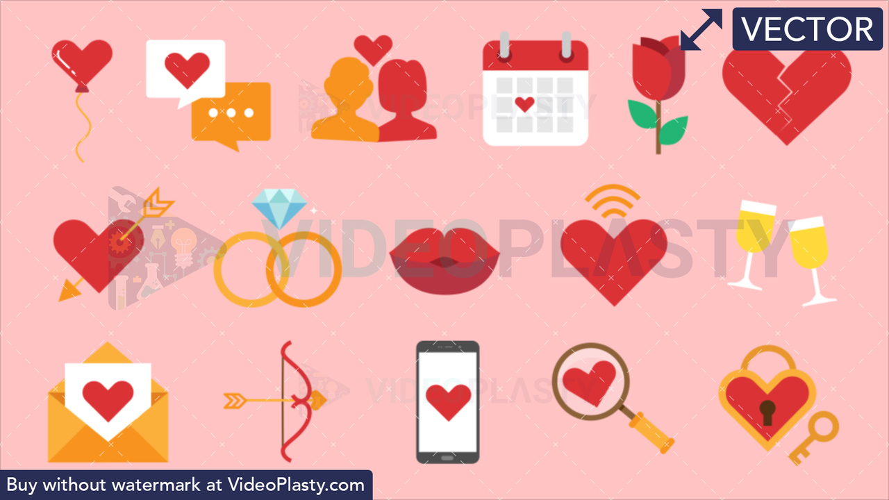 Dating Bundle - 16 Flat Icons Vector Clipart