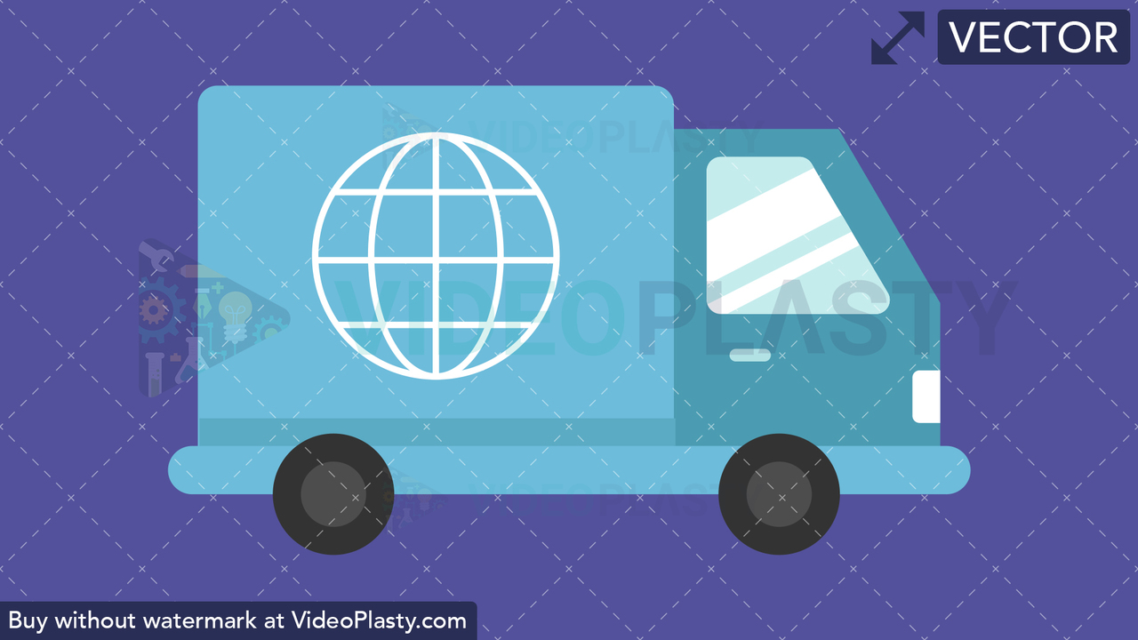 Delivery Truck Flat Icon Vector Clipart