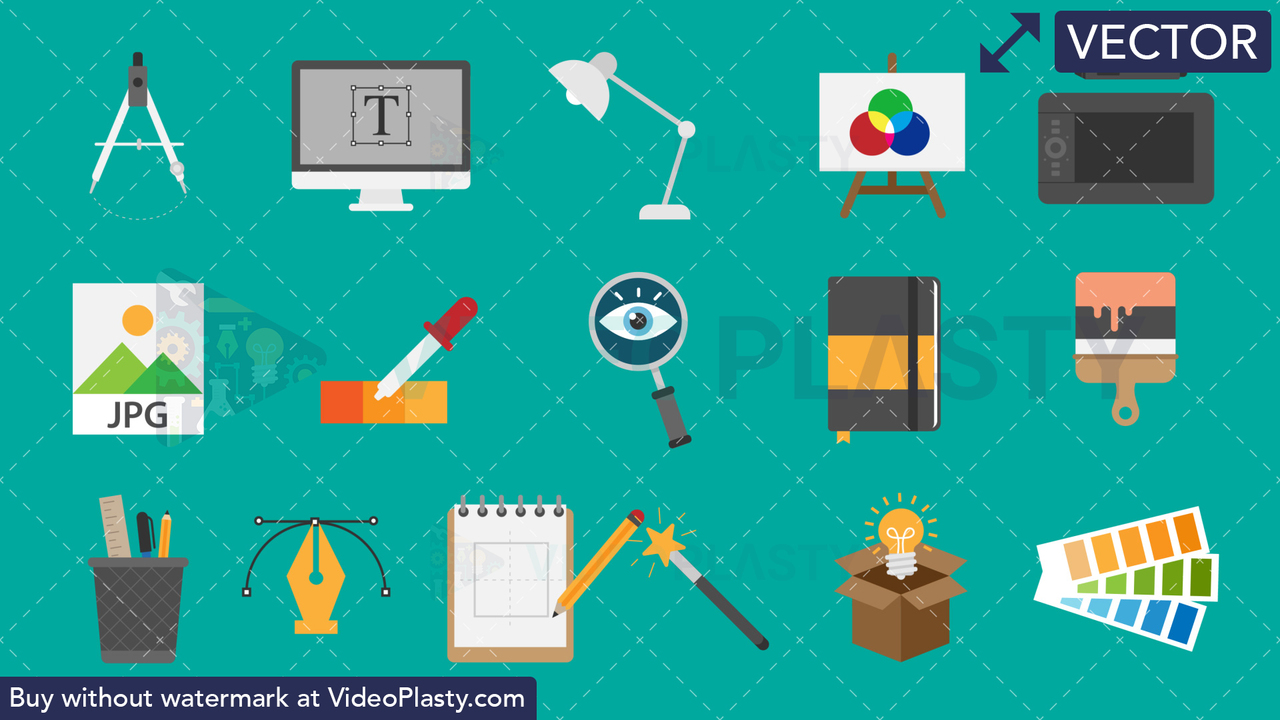 Design Bundle - 16 Flat Icons Vector Clipart