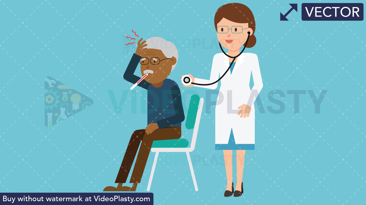 Doctor Checkup Black Patient Vector Clipart
