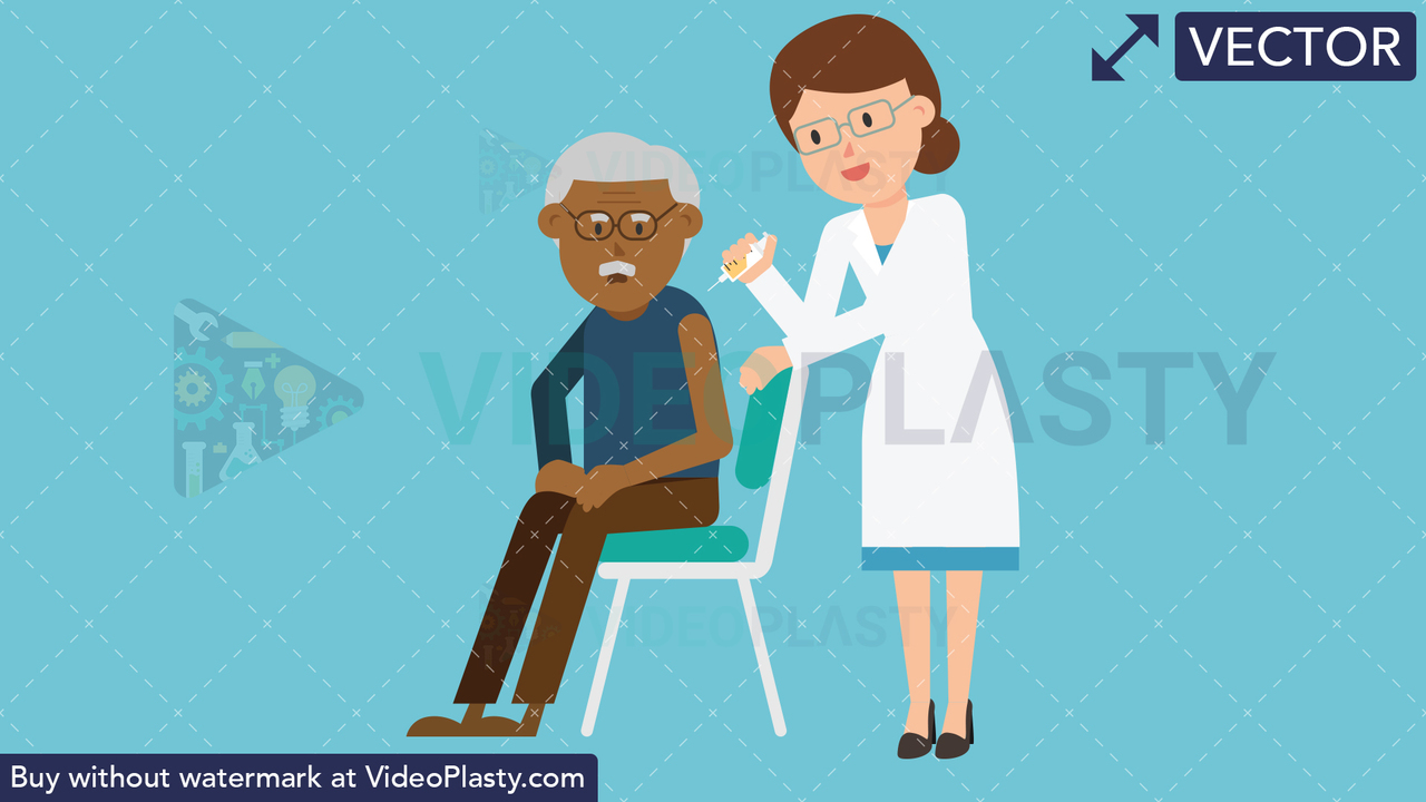 Doctor Giving Injection to Black Patient Vector Clipart