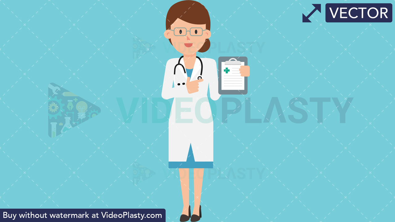 Doctor Showing Clipboard Vector Clipart