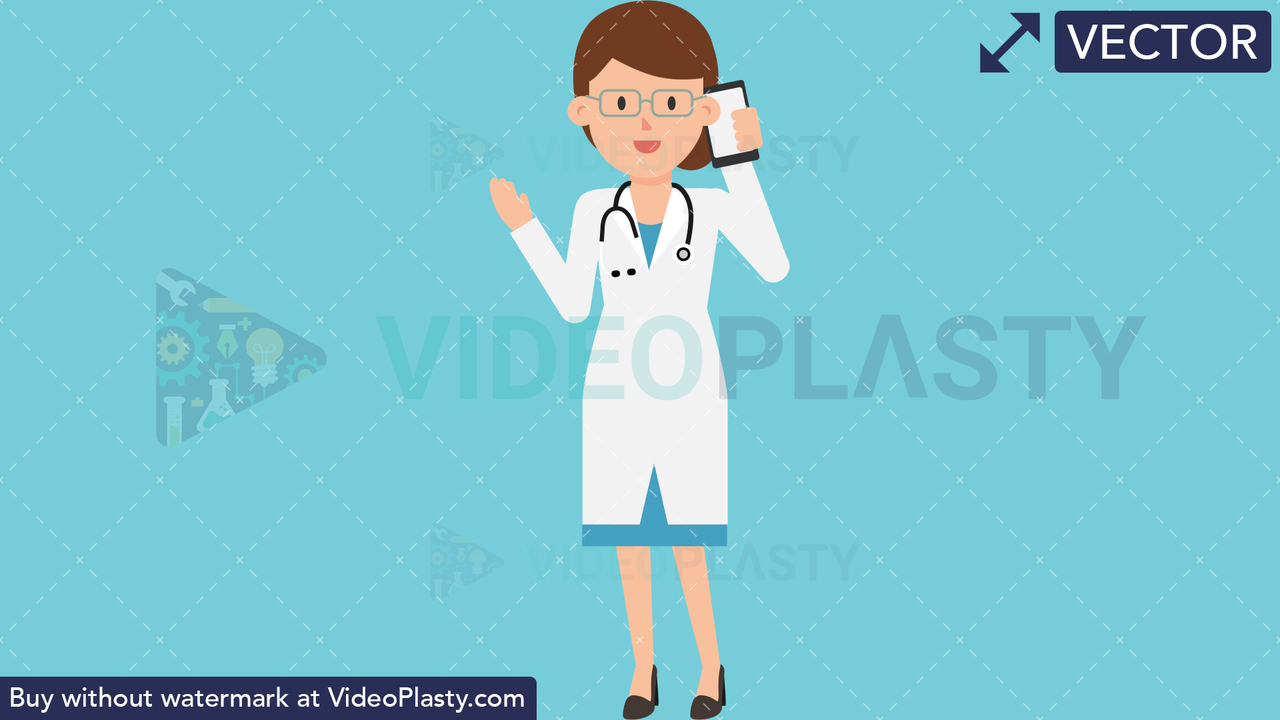 Doctor Talking on the Phone Vector Clipart