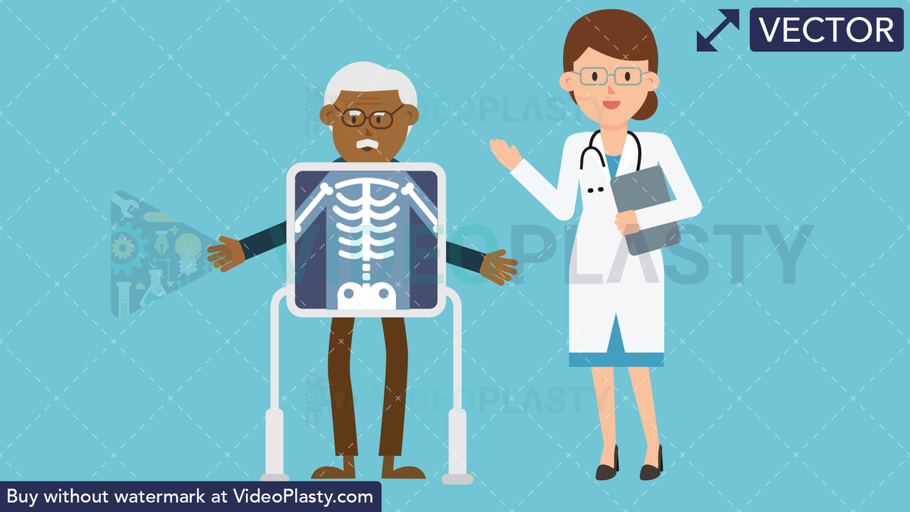 Doctor with Black Patient Xray Vector Clipart