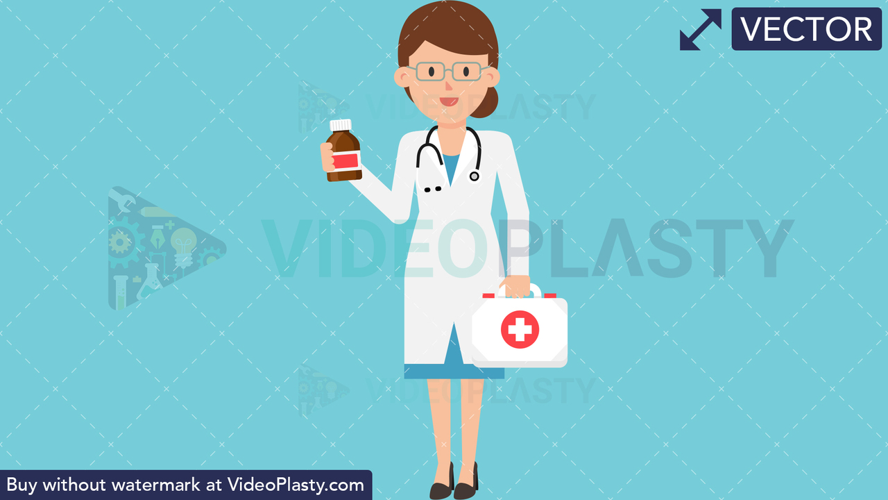 Doctor with First Aid Kit Vector Clipart