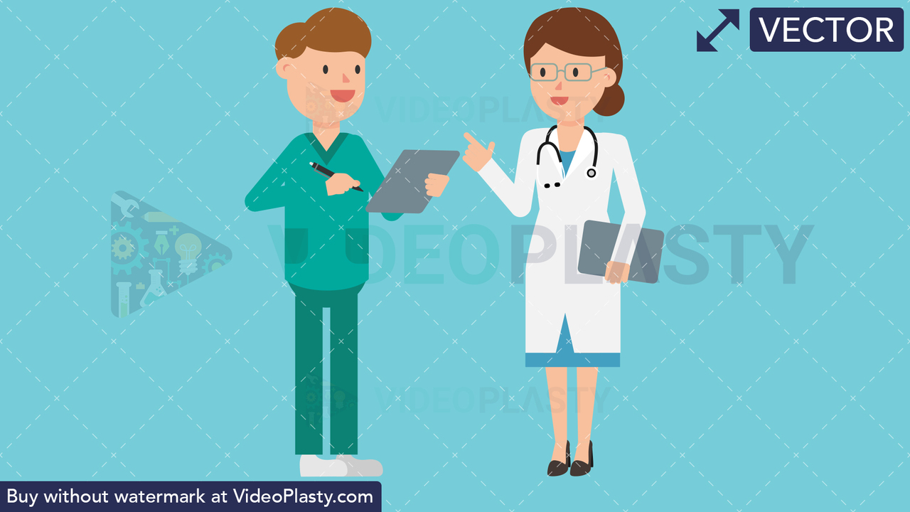 Doctor with Nurse Vector Clipart