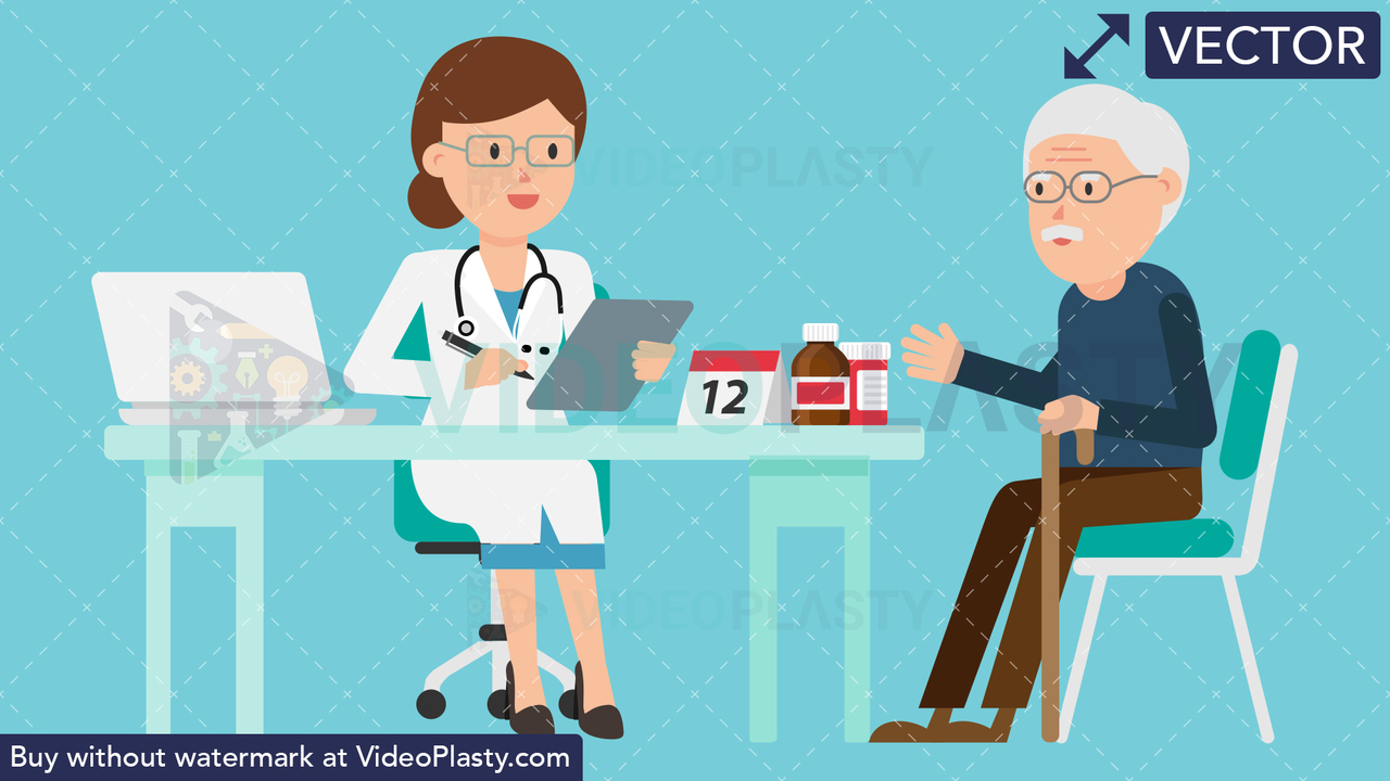 Doctor with Patient Vector Clipart