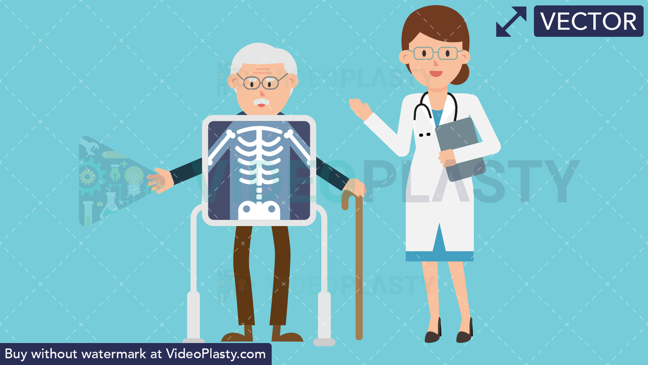 Doctor with Patient Xray Vector Clipart