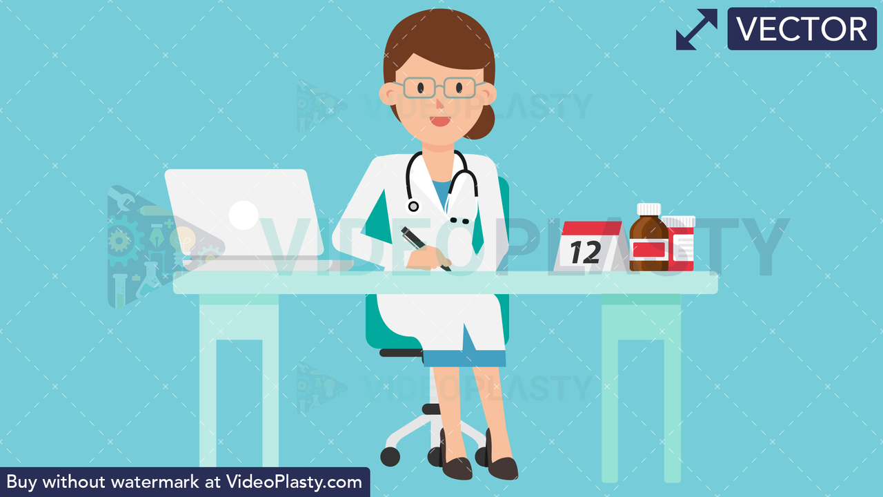 Doctor Working at Desk Vector Clipart