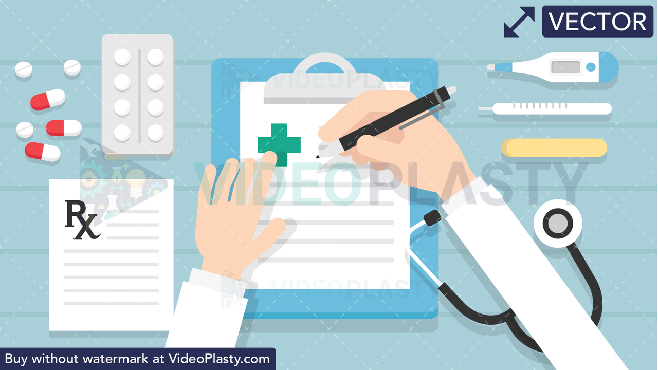 Doctor Writing on Clipboard Scene Vector Clipart