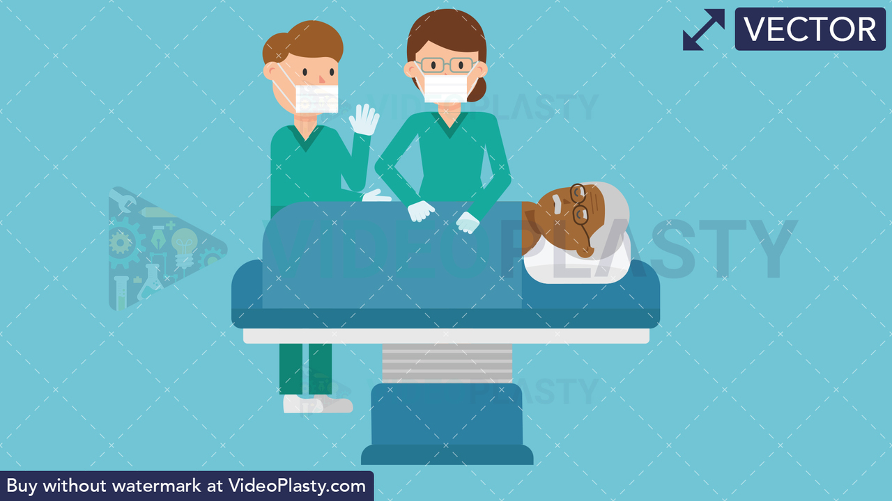 Doctors with Black Patient Operation Vector Clipart