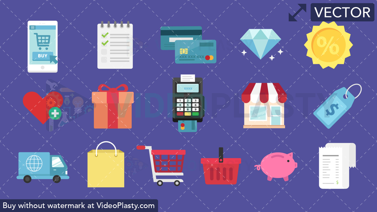 eCommerce Pack 16 Flat Icons Vector Clipart