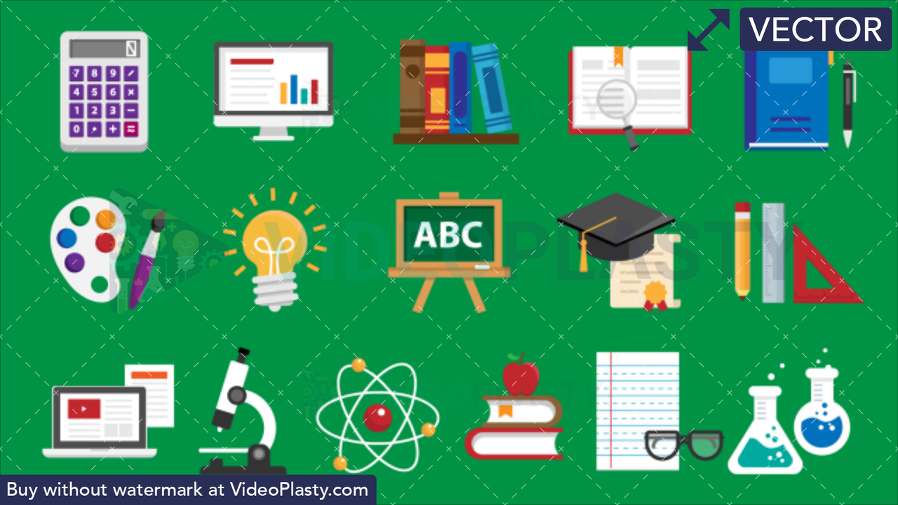 Education Bundle - 16 Flat Icons Vector Clipart
