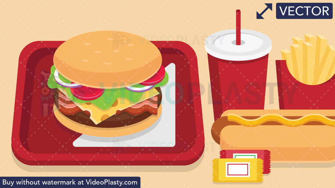 Fast Food Scene Vector Clipart