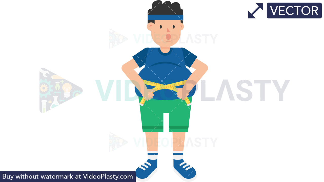Fat Man Measuring Waist Vector Clipart
