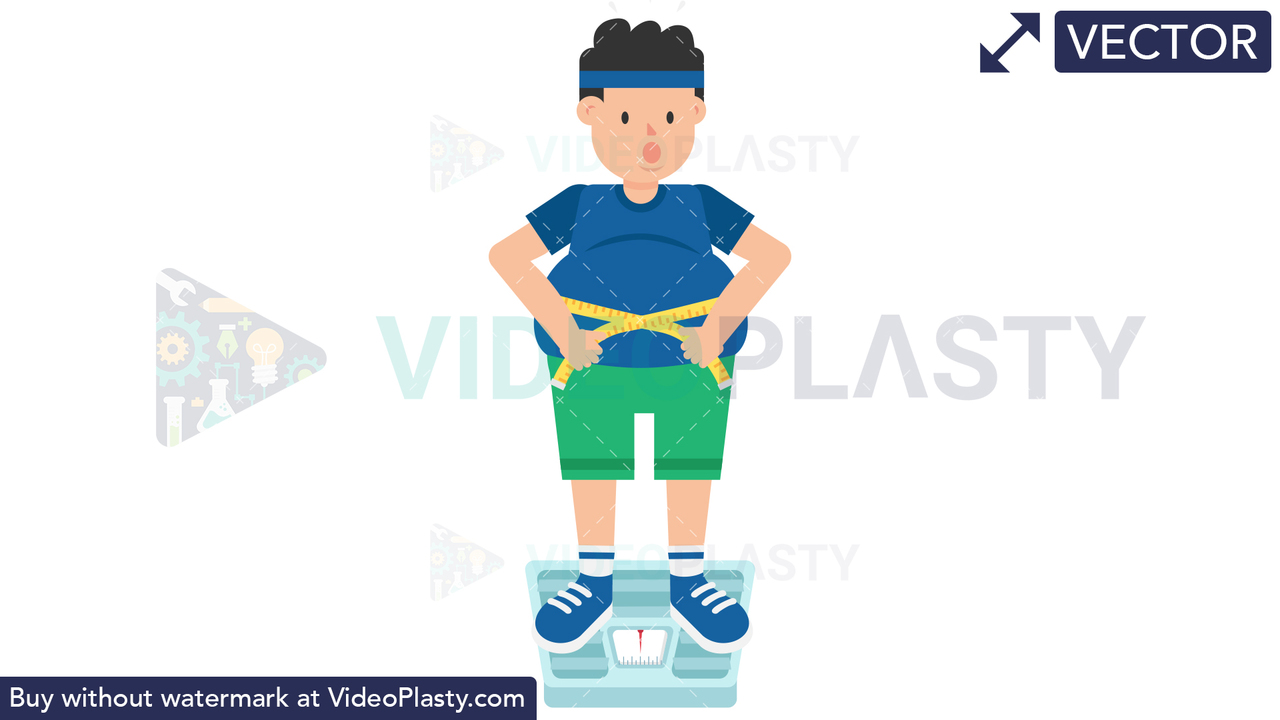 Fat Man on Weighing Scale Vector Clipart