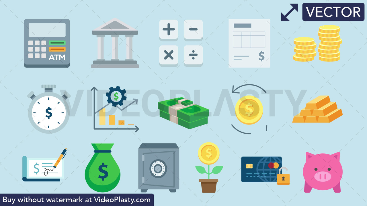 Finance Pack - 16 Icons Vector Clipart