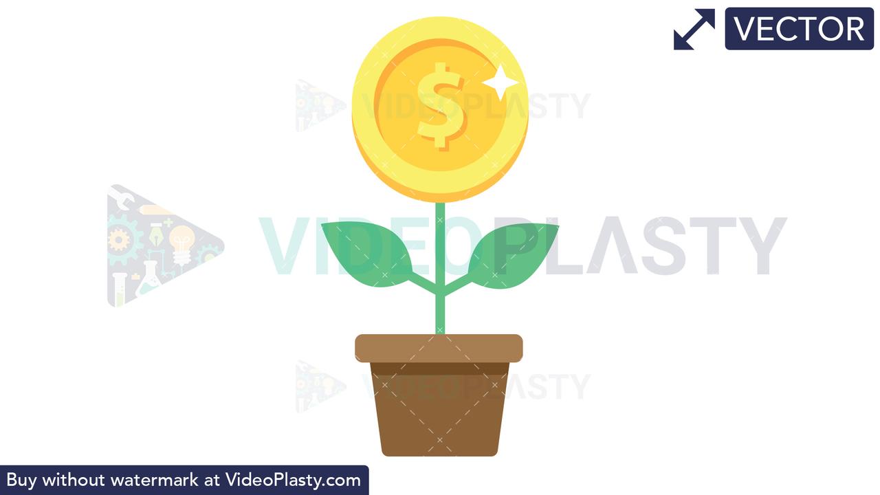 Financial Growth Icon - Dollar Vector Clipart