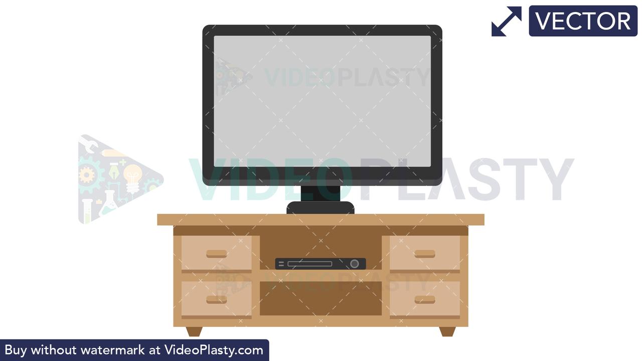 Flat TV Vector Clipart