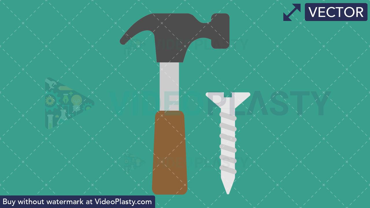 Hammer and Nail Vector Clipart