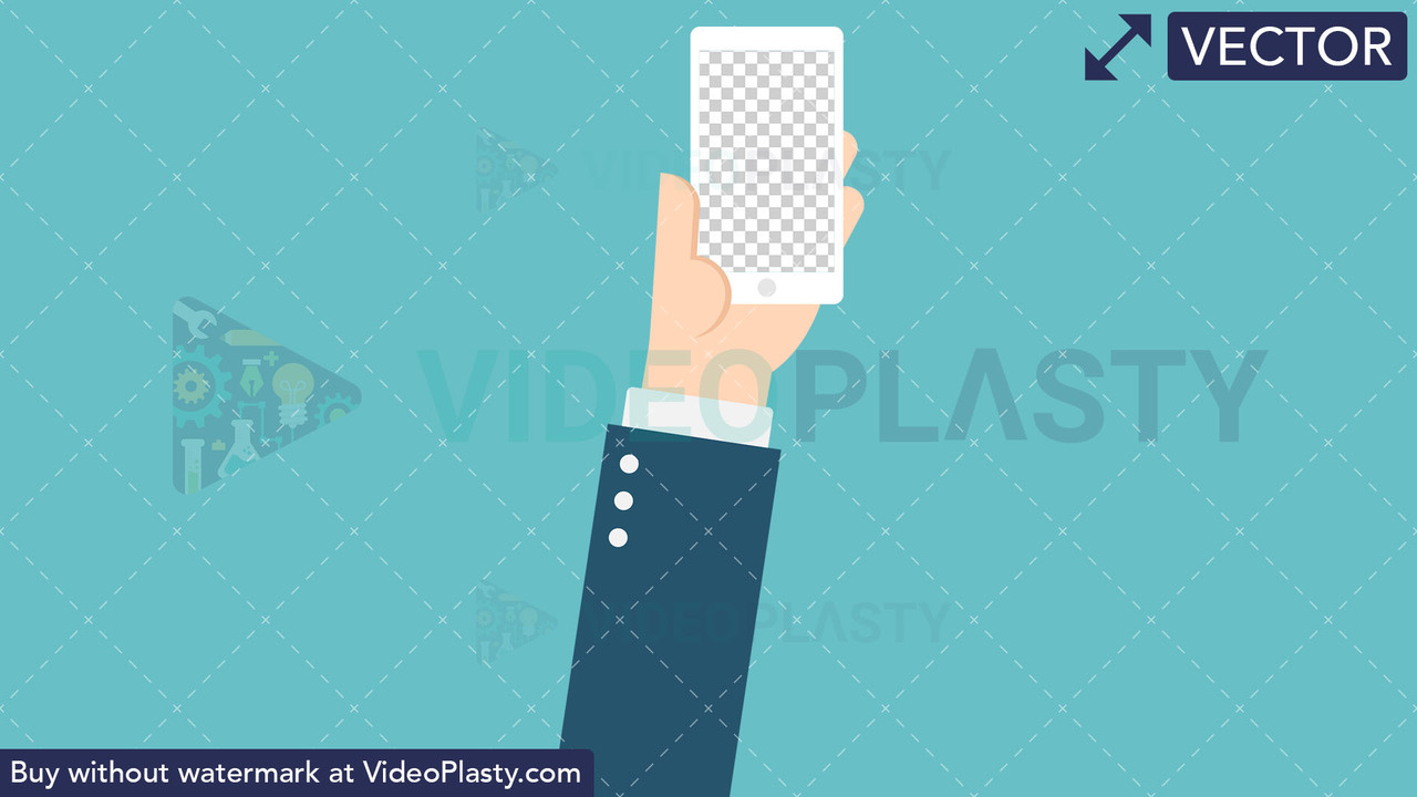 Hand Gesture: Holding a Phone with Transparent Screen Vector Clipart