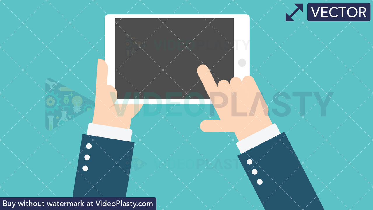 Hand Gesture: Holding a Tablet Vector Clipart