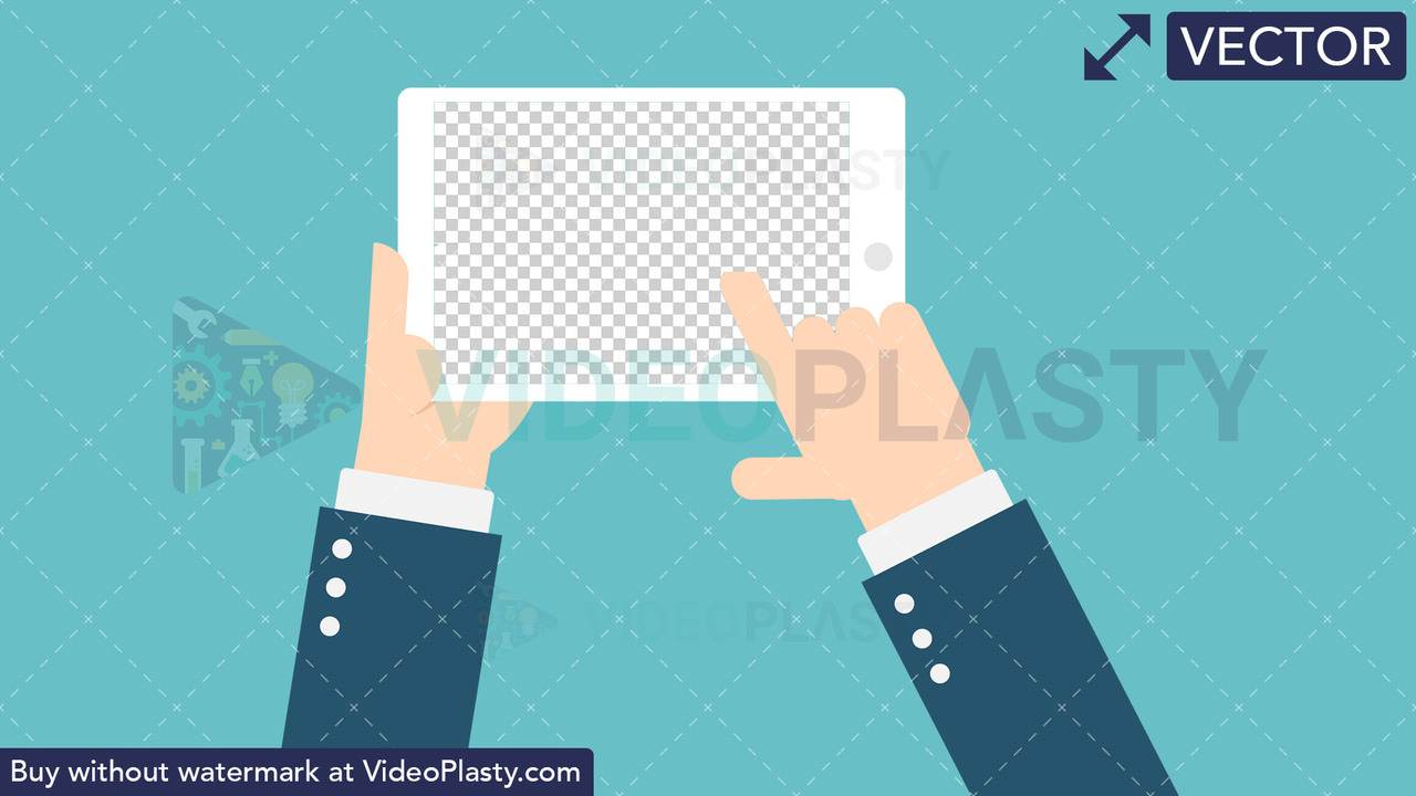 Hand Gesture: Holding a Tablet with Transparent Screen Vector Clipart