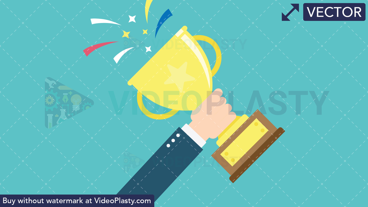 Hand Gesture: Raising a Trophy Vector Clipart