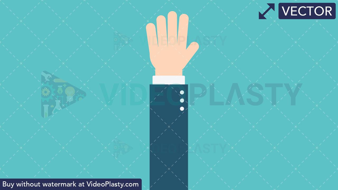Hand Gesture: Waving Vector Clipart