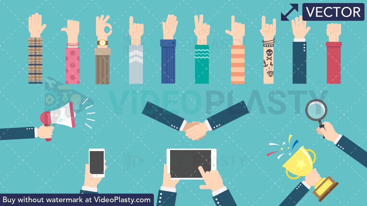Hand Gestures Bundle Vector Clipart