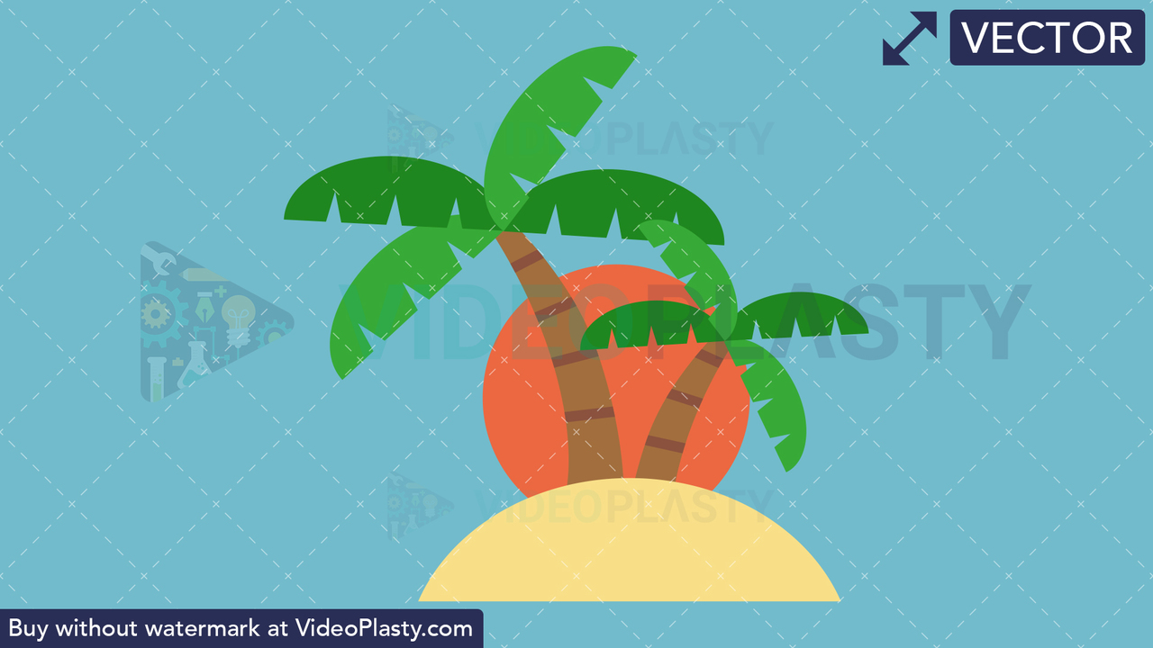 Island Flat Icon Vector Clipart