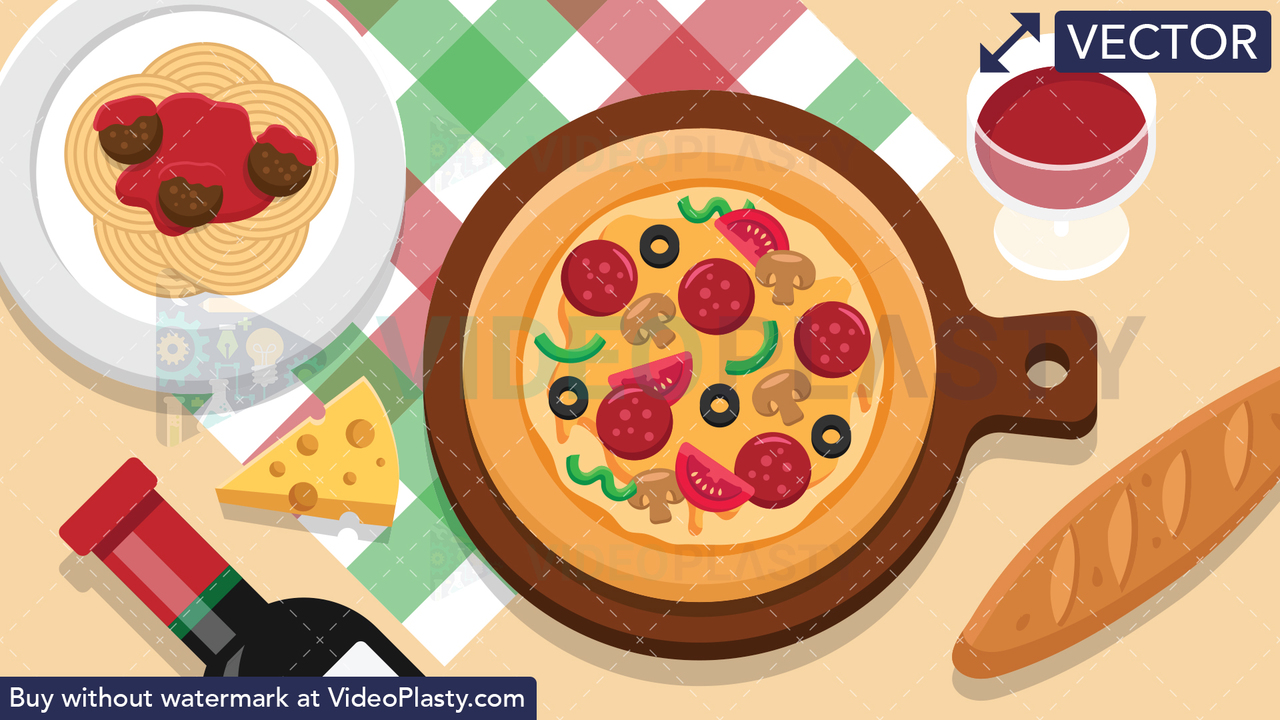 Italian Pizza Food Scene Vector Clipart