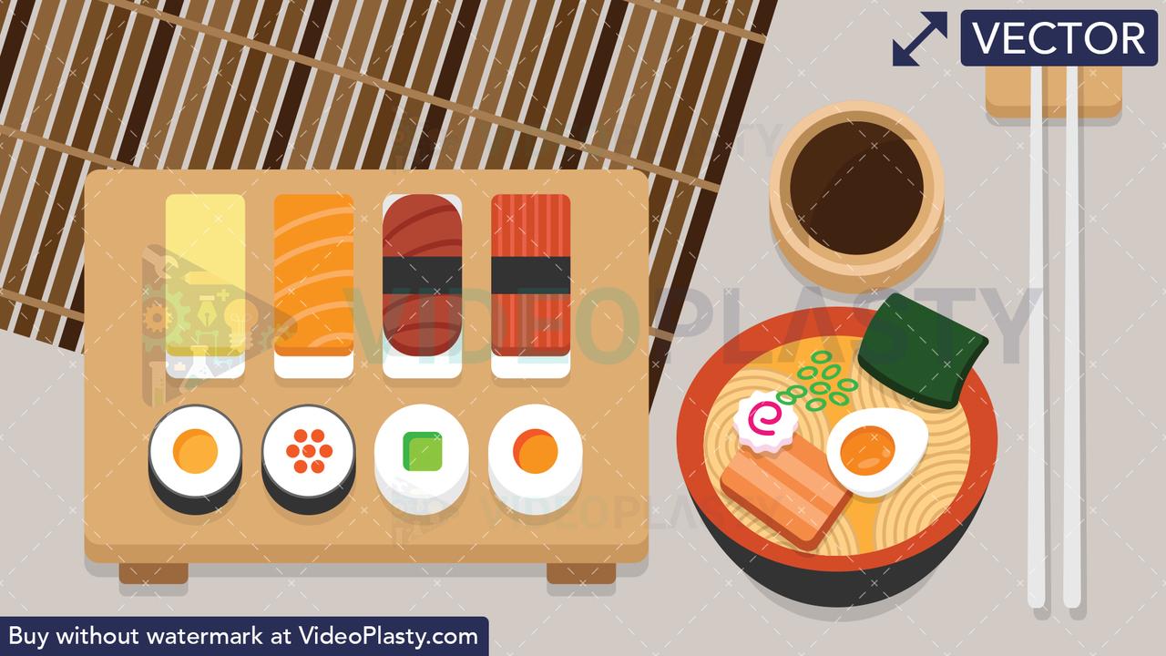 Japanese Sushi Food Scene Vector Clipart