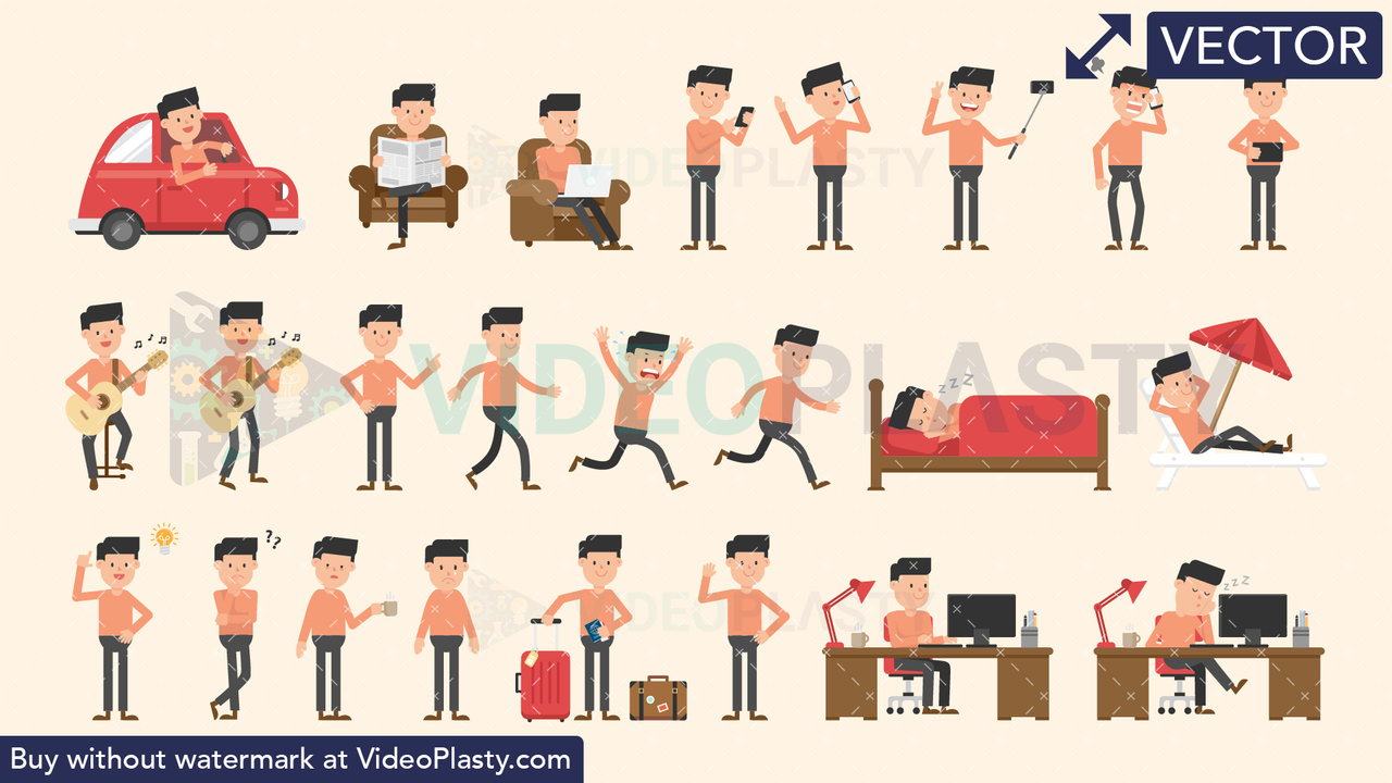 John Bundle - 24 Man Character Actions Vector Clipart