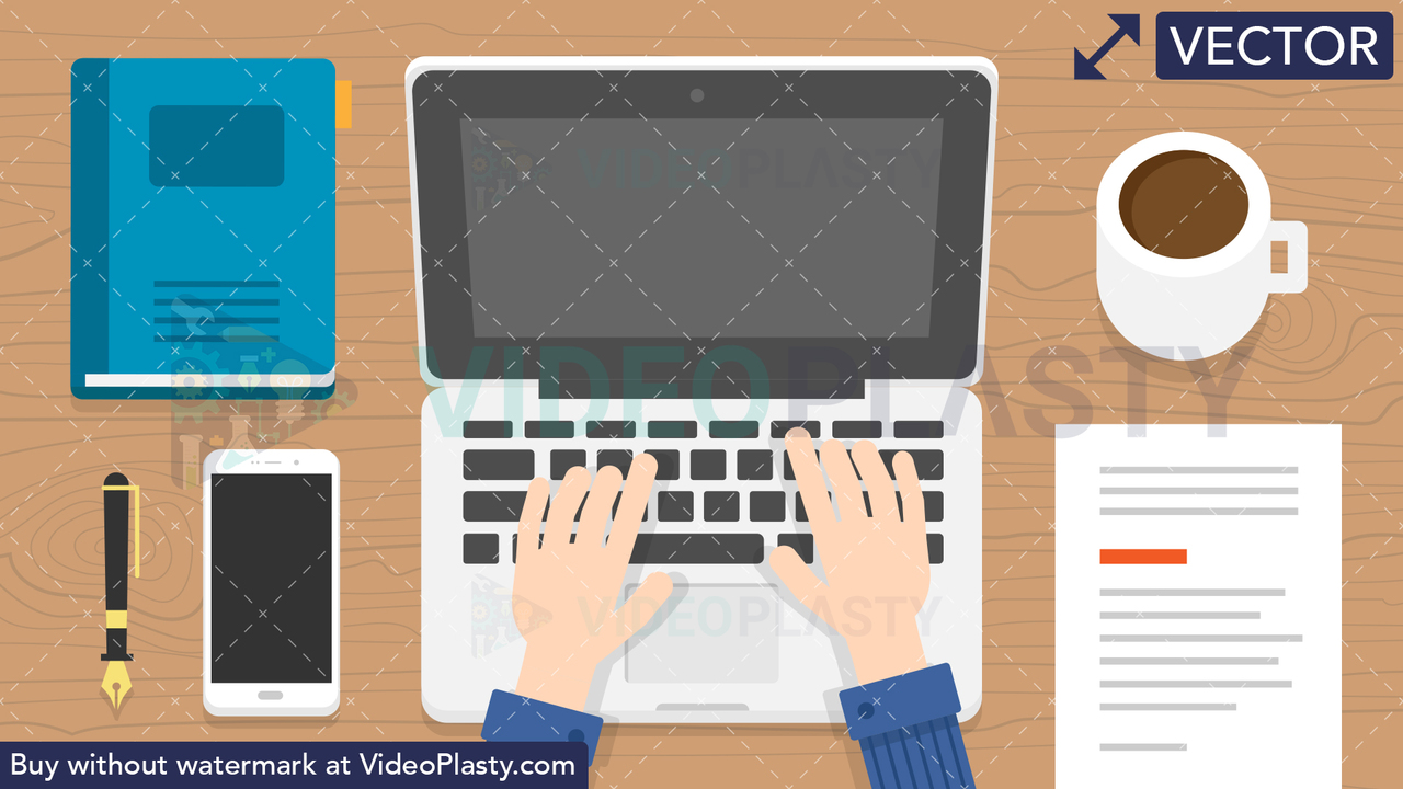 Laptop Typing Scene Vector Clipart