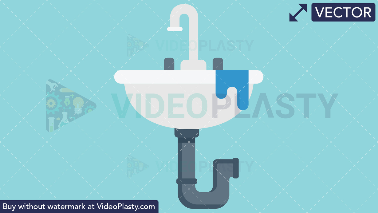 Leaking Sink Icon Vector Clipart