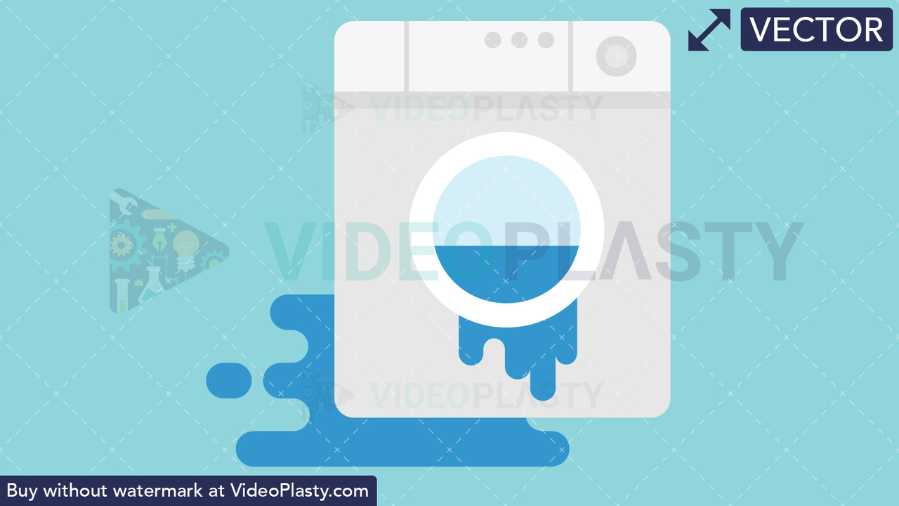 Leaking Washing Machine Icon Vector Clipart