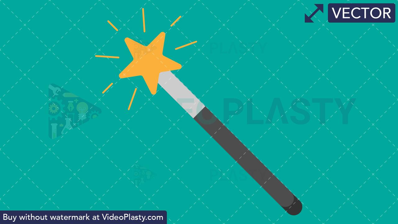 Magic Wand Tool Flat Icon Vector Clipart