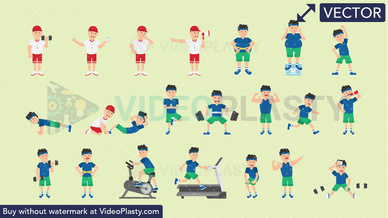 Male Fitness Bundle - 21 Character Actions Vector Clipart