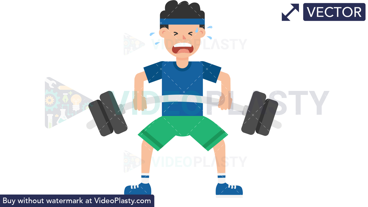 Man Lifting Barbell Vector Clipart