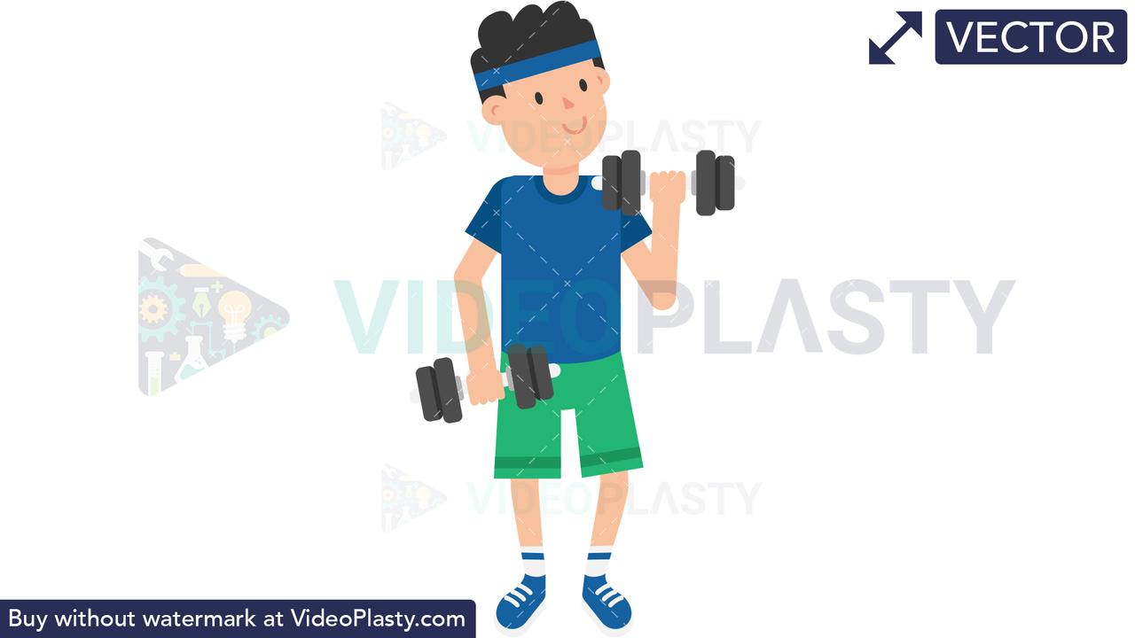 Man Lifting Dumbbells Vector Clipart