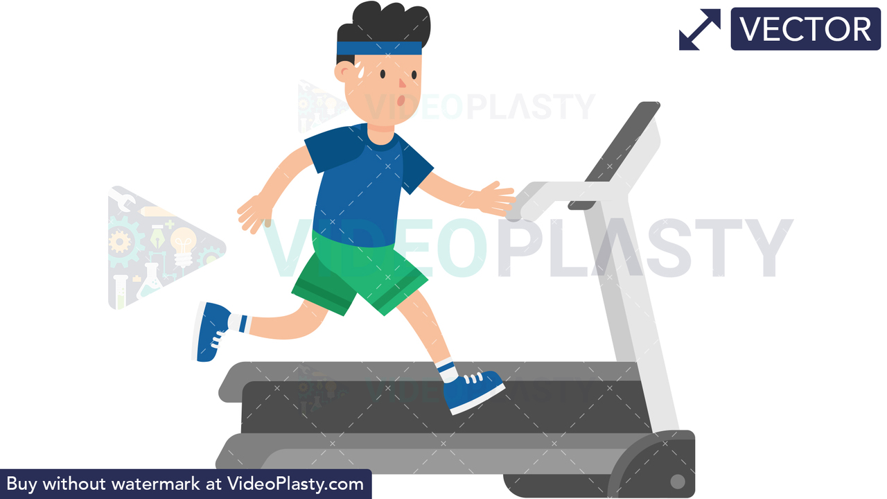 Man on a Treadmill Vector Clipart